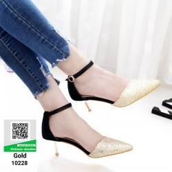 รองเท้าส้นสูงหัวแหลมที่ตอบโจทย์ สาวทันสมัย 10228-ทอง [สีทอง]