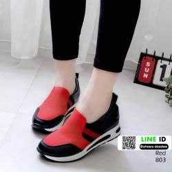 รองเท้าเตารีดหนัง pu เสริมส้นสไตล์เกาหลี 803-แดง [สีแดง]