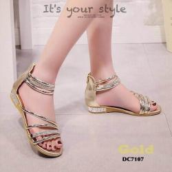 รองเท้าส้นแบนรัดข้อสีทอง ปิดส้น สไตล์เกาหลี (สีทอง )