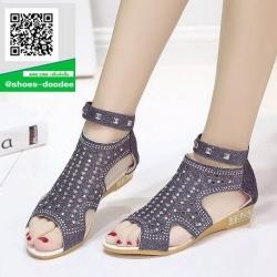 รองเท้าลำลองรัดข้อสีดำ Style Korea (สีดำ )