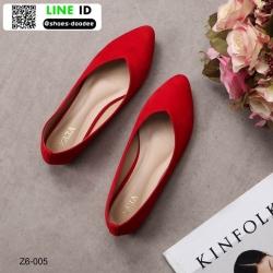 รองเท้าคัชชูส้นเตี้ยงานกำมะหยี่ Z6-005C6-RED [สีแดง]