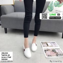 รองเท้าผ้าใบสวมปักงานสไตล์แบรนด์ดัง 202-WHI [สีขาว]