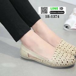 รองเท้าส้นเตี้ย สไตล์เกาหลี 18-1374-GOLD [สีทอง]