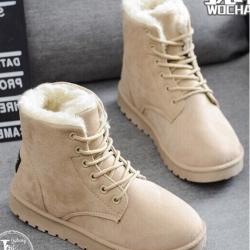รองเท้าบูทหนัง ใส่เดินหิมะ หน้าหนาว (สีแอปปริคอท )