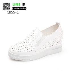 รองเท้าสวมส้นสูงหนัง pu ลายฉลุ 1855-1-WHI [สีขาว]
