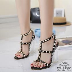 รองเท้าส้นสูงรัดส้นสีดำ แต่งหมุด สไตล์VALENTINO (สีดำ )