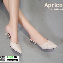 รองเท้าส้นเข็มหัวแหลม แบบเปิดส้น A1702-H6-APR [สีแอปริคอท]