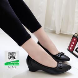 รองเท้าคัชชูหน้าเรียวหนังนิ่ม 687-9-ดำ [สีดำ]