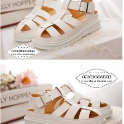 รองเท้าแตะรัดส้นทรงตะกร้อ สไตล์วินเทจ (สีขาว)