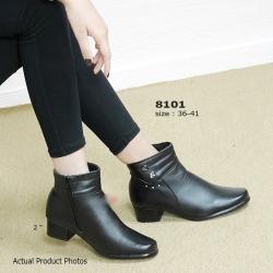รองเท้าบูทผู้หญิง แต่งซิปข้าง ทรงสุภาพ (สีดำ)