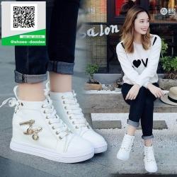 รองเท้าผ้าใบหุ้มข้อสีขาว ทรงหัวมน (สีขาว )