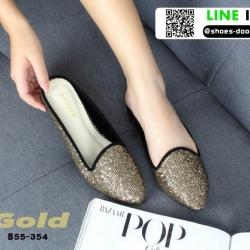 รองเท้าลำลองเปิดส้น ทรงหัวแหลม B55-354-GLD [สีทอง]