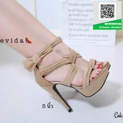 รองเท้าส้นเข็มรัดข้อสีครีม สไตล์เกาหลี งานผ้า (สีครีม )