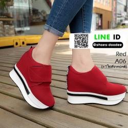 รองเท้าผ้าใบเสริมส้น หนัง pu ญี่ปุ่นกันฝุ่น A06-แดง [สีแดง]