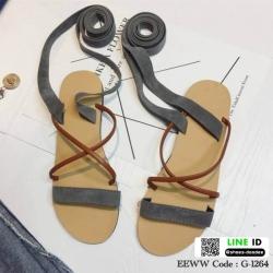 รองเท้าแตะพันขา สายคาดหนังสักราจ G-1264-GRY [สีเทา]