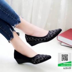 รองเท้าคัชชู ส้นเตารีดใส่สบายๆ 628-09-ดำ [สีดำ]