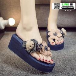 รองเท้าแตะส้นเตารีด ตุ๊กตาหมี YCN-146-BLU [สีน้ำเงิน]