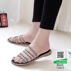 รองเท้าแตะ ลำลองแบบสวมหนังเมทัลลิคคาด 13635-ดำ [สีดำ]