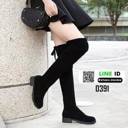 รองเท้าบูทยาวเกาหลี ผูกโบว์ด้านหลัง 0391-BLACK [สีดำ]