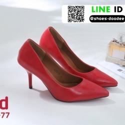 รองเท้าคัทชูหัวแหลม สีพาสเทล A678-77-RED [สีแดง]