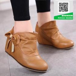 รองเท้ามินิบูทสีแทน แต่งข้างด้วยโบว์ สไตล์เกาหลี (สีแทน )