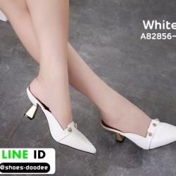 รองเท้าส้นเข็มเปิดส้น หัวแหลม ส้นทอง A82856-3-WHI [สีขาว]