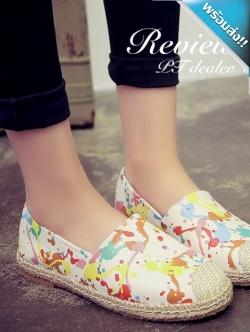 รองเท้าผ้าใบผู้หญิงสีขาว ลายสาดสี แบบสวม สีสันสดใส ถูกใจวัยรุ่น เย็บแต่งขอบด้วยเชือกสาน แฟชั่นเกาหลี แฟชั่นพร้อมส่ง