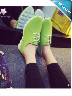 รองเท้าผ้าใบผู้หญิงสีเขียว หนังกลับ พื้นร่อง แบบเชือกผูก แนววินเทจ แฟขั่นเกาหลี แฟชั่นพร้อมส่ง