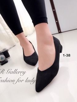 รองเท้าคัทชูผู้หญิง หน้าV ทรงสุภาพ (สีดำ )