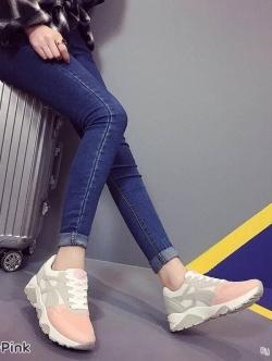 รองเท้าผ้าใบแฟชั่น สปอร์ตเกิร์ล ใส่กระชับเท้า เล่นสีทูโทน (สีชมพู )