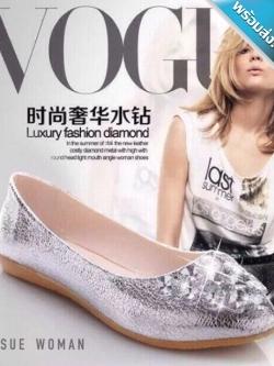 รองเท้าคัทชูส้นแบนสีเงิน หัวประดับเพชร หรูหรา ทรงทันสมัย สวมใส่สบาย แฟชั่นสไตล์ยุโรป แฟชั่นพร้อมส่ง