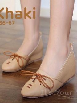รองเท้าคัทชูผู้หญิง หนังนิ่ม ผูกเชือก สไตล์วินเทจ (สีกากี )