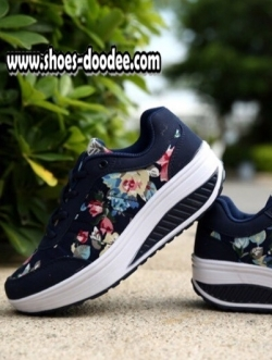 รองเท้าผ้าใบสีน้ำเงิน เสริมส้นเวอร์ชั่นใหม่ ลายดอก ใส่สบาย น้ำหนักเบามาก เหมือนแบบ100%