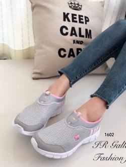 รองเท้าผ้าใบ สไตล์Sport-Girl ผ้าตาข่าย น้ำหนักเบา (สีเทา )