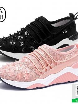 รองเท้าผ้าใบแฟชั่นสีชมพูโอรส สไตล์แบรนด์ ASH (สีสีชมพูโอรส )