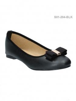 รองเท้าคัทชูส้นเตี้ย หัวมน แต่งโบว์ (สีดำ )