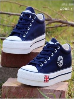 รองเท้าผ้าใบ สไตล์Converse ผ้ายีนส์ (สีน้ำเงิน )