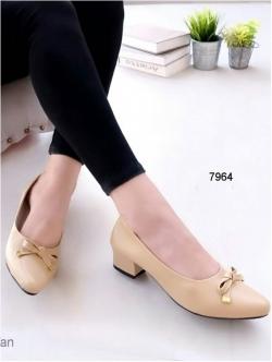 รองเท้าคัทชู หัวมน แนวหวาน (สีแทน )