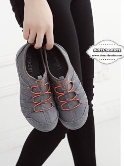 รองเท้าผ้าใบสีเทา เพื่อสุขภาพ ที่เห็นแล้วLove พื้นยางอย่างดี ใส่ง่าย ถอดง่าย ไม่ต้องนั่งผูกเชือก