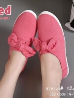 รองเท้าผ้าใบผู้หญิง สไตล์หวาน (สีแดง )