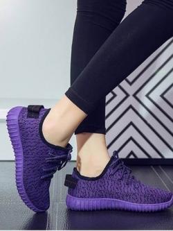 รองเท้าผ้าใบแฟชั่นสีม่วง ผ้ายืด ระบายอากาศได้ดี พื้นนิ่ม (สีม่วง )
