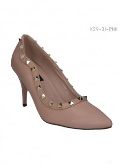 รองเท้าคัทชูส้นสูง ปักหมุด สไตล์Valentino (สีชมพู )