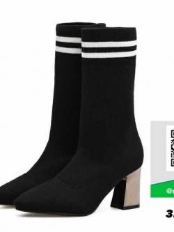 รองเท้าบูทยาวสีดำ ทรงสูง ผ้ายืด (สีดำ )