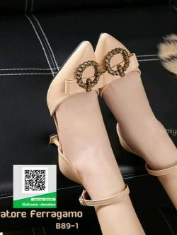 รองเท้าคัทชูส้นเข็มหัวแหลมสีกากี รัดข้อ (สีกากี )