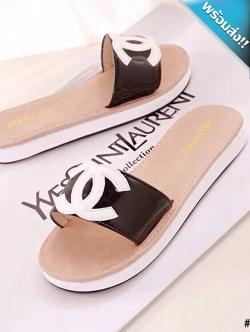 รองเท้าแตะผู้หญิงสีดำ แบบสวม เปิดนิ้วเท้า ทรงCH สวมใส่สบาย แฟชั่นพร้อมส่ง