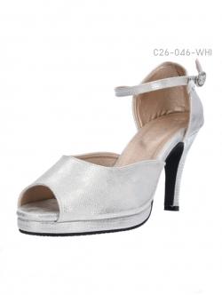 รองเท้าส้นสูงรัดส้น เปิดโชว์นิ้วเท้า (สีขาว )