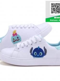 รองเท้าผ้าใบแฟชั่นสีขาว ปักการ์ตูนDisney (สีขาว )