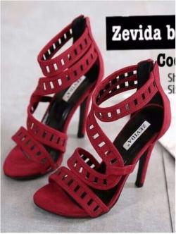 รองเท้าส้นสูง ปิดส้น รัดข้อเท้า แต่งซิปหลัง (สีแดง )