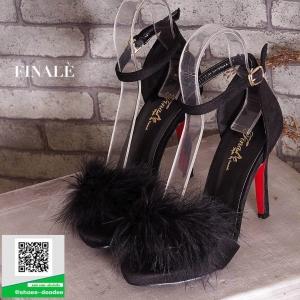 รองเท้าส้นเข็มรัดข้อสีดำ หนังชามัวร์ แต่งขนเฟรอ์ (สีดำ )