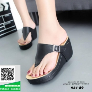รองเท้าเตารีดเปิดส้นสีดำ หูคีบ (สีดำ )